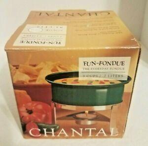 Chantal Fun Fondue 3 Cup Green Ceramic  With Burner & Base The Everyday Fondue