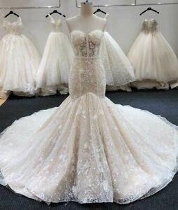 Bridal Wedding Gowns Dresses Mermaid Sleeveless Sweetheart Crystal Bling Beading
