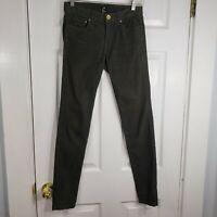 H&M Size 4 Olive Green Skinny Leg Corduroy Pants Slacks Trousers Womens Stretch