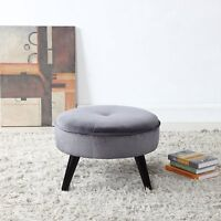 Classic Tufted Large Velvet Round Footrest / Footstool / Ottoman, Grey