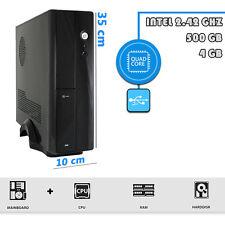 Pc Mini Desktop Computer fisso Intel Quad Core 2.4 GHz RAM 4gb 500gb USB 3.0