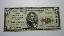 $5 1929 Pittsfield Maine ME National Currency Bank Note Bill Ch. #13777 FINE
