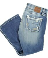 """BKE Stella Womens Capri Stretch Jeans Thick Stitch Distressed Size 27 22"""" Inseam"""
