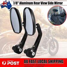 "Pair 22mm Universal 7/8"" Bar End Motorcycle Aluminum Side Rearview Mirror Black"