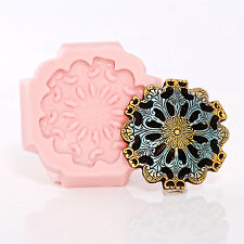 Round Steampunk Medallion Silicone Mold Food Safe Fondant Candy Resin (756)