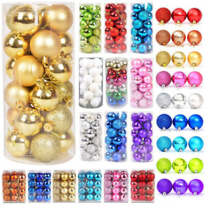 24PCS 40mm 60mm Large Christmas Tree Balls Baubles Plain Glitter Xmas Ornaments