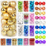 24PCS 40mm 60mm Large Christmas Tree Balls Baubles Plain Glitter Xmas Ornaments