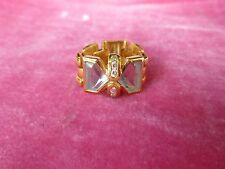 STUNNING ITALIAN 18K GOLD DIAMOND AND AQUAMARINE RING .285 TROY OZ