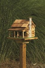 Log Cabin With Rock Chimney Bird Feeder