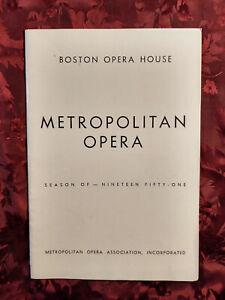 RARE NEW YORK METROPOLITAN OPERA program Boston 1951 Madama Butterfly Puccini