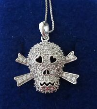 "18"" Sterling Silver Clear Crystals covering 25mm Skull Crossbones Charm & Chain"
