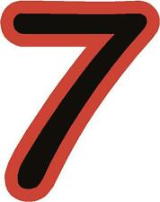 """x1 3"""" Race Number vinyl stickers (more in ebay shop) Style 1 Number 7 Black/Red"""