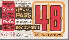 Trolly/Bus pass capital Transit Wash. DC--1945 Victory Bonds-----64