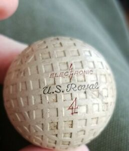 "Vintage ""U.S. ROYAL"" #4 ELECTRONIC Square Mesh Golf Ball"