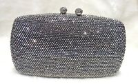 Gray Pewter Double Balls Lock Women Bridal/Prom/Evening Crystal Case Clutch Bag