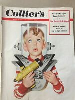 1953 Vintage Collier's Magazine, Kid In Space Helmet, F.D.R. Great Print Ads M20
