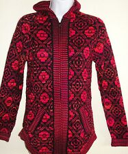 New Womens Small Peruvian Sweater Alpaca Ethnic Pattern Hooded Knit Red Zipper