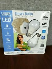 Open Box- FEIT Electric Smart Wi-Fi LED Color Changing Dimmable 60W Bulbs 2-pk