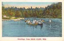 High Cliff Wisconsin Row Boat Waterfront Greeting Antique Postcard K64404