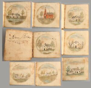 19thC Antique 1811 Folk Art Miniature Handmade School Book Watercolor Paintings