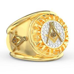 SIGNATURE Masonic Class Style Ring Freemason Lodge G Compass Traveling Man CZs