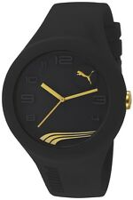 NEW PUMA PU103211008 XL BLACK & GOLD SILICONE WATCH - 2 YEAR WARRANTY