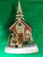 Brinn's  Porcelain Hand Painted  Musical Church New In Box