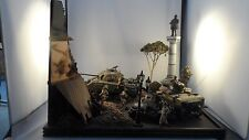 1:35 Built Diorama & Cover WWII US Troops, Tanks and Jeep in Destroyed Village.