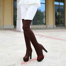 Women's Over the Knee Boot High Heels Platform Faux Suede Long Stretchy