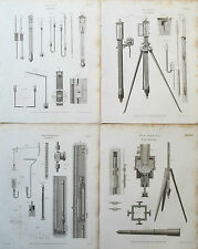 1818 Barometer Barometers 4 Antique Prints Engraving Rees