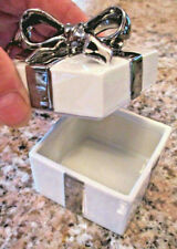 LEFTON CHINA Trinket Jewelry Box PORCELAIN Hand Painted SILVER BOW Present #672