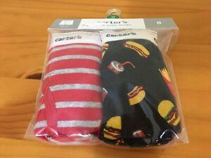 NWT Carter's Boys Boxer Brief Underwear 2pair/pack Hamburgers Hotdogs, stripes