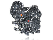 Stunning Large Silver Tone Clear Crystal Rhinestone Elephant Mother Baby Ring