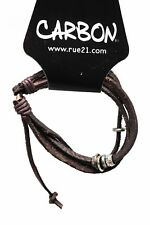 Rue21 Carbon Brown Leather Bracelet Adjustable Thai Style Rustic Fashion Jewelry