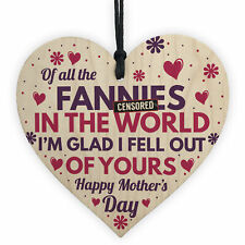 Funny Rude Mothers Day Gifts Novelty Wooden Heart Gift For Mum Daughter Son