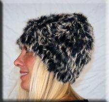 New Black Frost Knit Rabbit Fur Beanie Hat Efurs4less