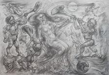 1978 Nude figures surrealist print signed
