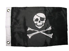 """12x18 12""""x18"""" Jolly Roger Pirate with Patch Boat Car Motorcycle Flag"""