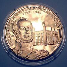 WILLEM II KING OF THE NETHERLANDS 1792-1849 BU Proof Medal 39mm 25g 24 Carat Gol