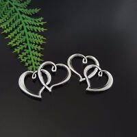 24PCS Antique Silver Tone Alloy Two Love Heart Charms Pendant 31*19*3mm 39410