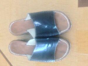 GC CTPK Snakeskin Print Leather Platform Sandals SZ 36 Made in Italy