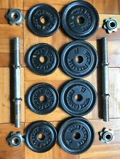 """Two (2) York 15 Lb Adjustable Dumbbells 30 Lbs Total Standard 1"""" Weight Plates"""