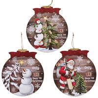 Hanging Countdown To Christmas Advent Calendar Wooden Santa Snowman Plaque Sign