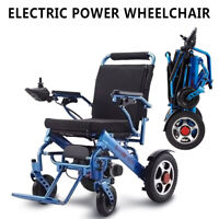 110V Portable Folding Mobility Old Elderly Disabled Electric Wheelchair Blue