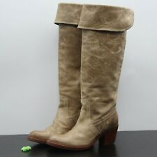 Frye Jane Women's Distressed Tan Leather Tall Cuff Over the Knee Boots Sz 5.5 B