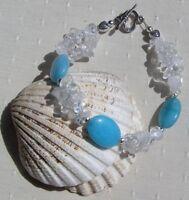 "Amazonite & Clear Quartz Crystal Gemstone Beaded Chakra Bracelet ""Tropical Ice"""