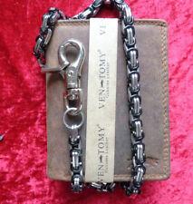 Herren  Büffelleder  Geldbörse mit Kette 45 cm Geldbeutel RFID-Blocker Braun