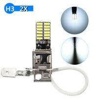 2x H3 24 SMD 4014 LED HID Xenon Car Fog Light Driving Bulbs DRL White 6500K 12V