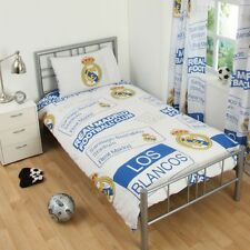 Real Madrid CF Patch Single Duvet Cover & Pillowcase Set Bedding 100 Official