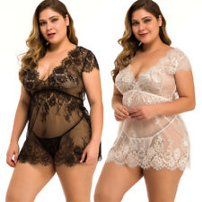 Babydoll Lingerie for Women Sexy Lace Chemise Nightgown Bridal V Neck Negligee